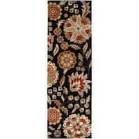Hand-tufted Black Tamarin Wool Rug (3' x 12')