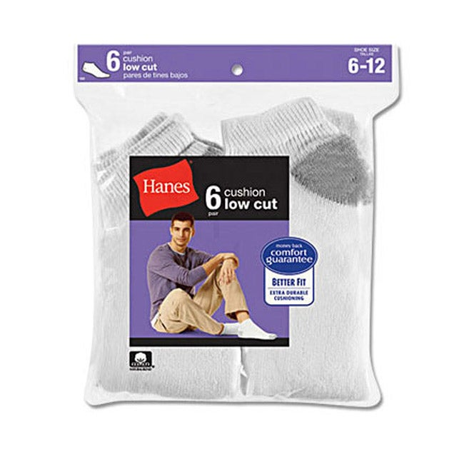 Hanes Classics Men's Cushion Low-cut White Socks (Pack of 6) - Thumbnail 0