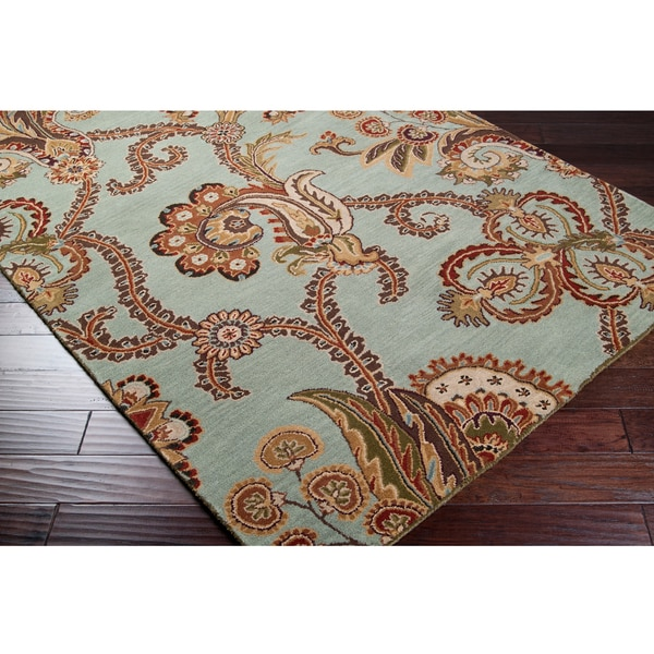Hand Tufted Seafoam Chevaliers Wool Area Rug 5 X 8