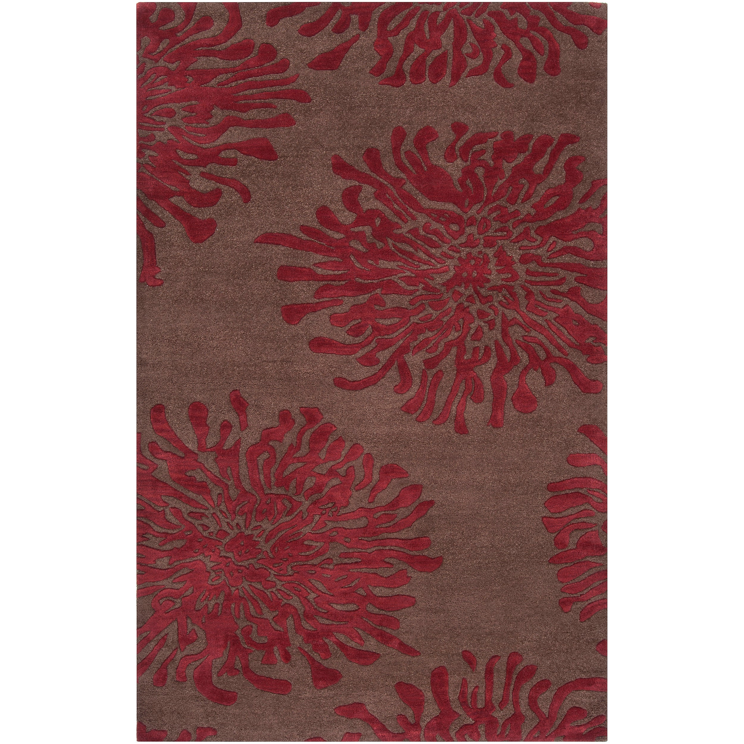 Hand-tufted Contemporary Brown/Burgundy Floral Shaki New Zealand Wool Abstract Rug (5' x 8')