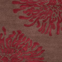 Hand-tufted Contemporary Brown/Burgundy Floral Shaki New Zealand Wool Abstract Rug (5' x 8') - Thumbnail 2