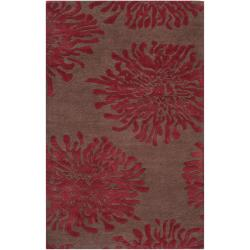 Hand-tufted Contemporary Brown/Burgundy Floral Shaki New Zealand Wool Abstract Area Rug - 5' x 8' - Thumbnail 0