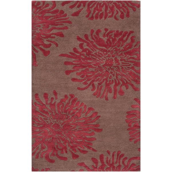 Hand-tufted Contemporary Brown/Burgundy Floral Shaki New Zealand Wool Abstract Area Rug - 5' x 8'