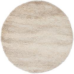 Hand-woven Ivory Chilstoon Wool Plush Shag Rug (8' Round)
