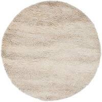 Carson Carrington Porvoo Hand-woven Ivory Wool Plush Shag Area Rug - 8' Round