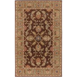 Hand-tufted Traditional  Ahsan Chocolate Floral Border Wool Rug (2' x 3')