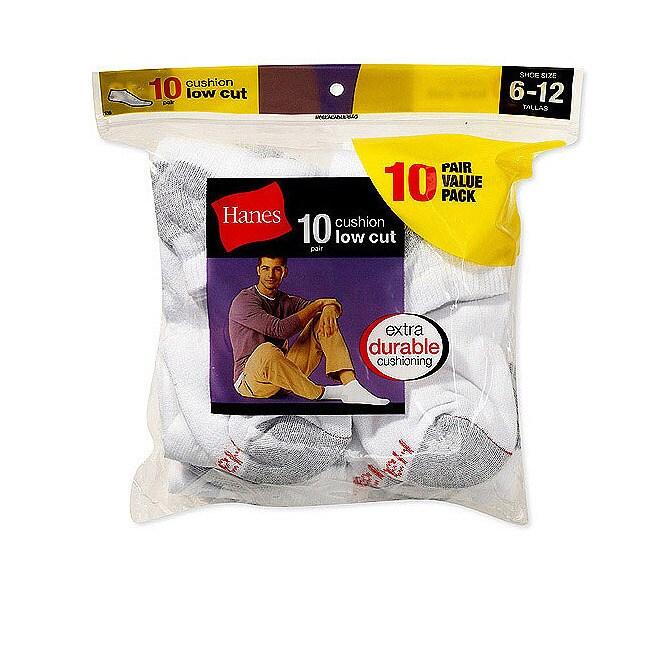 Hanes Men's Cushion Low-cut White Socks (Pack of 10)