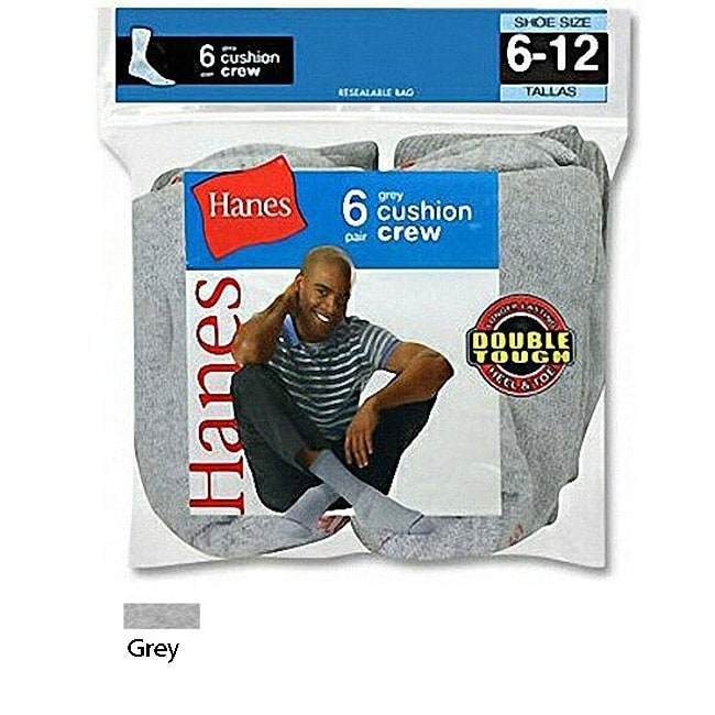 Hanes Men's Active Crew Grey Socks (Pack of 6)