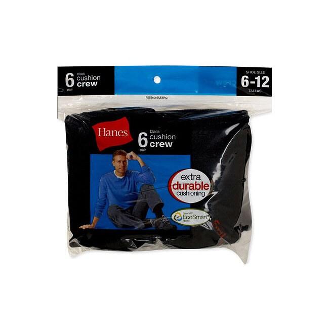 Hanes Men's Active Crew Black Socks (Pack of 6)