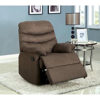 Furniture of America Dalton Microfiber Coffee Brown Recliner Chair