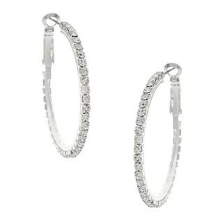 Women's Roman Silvertone Clear Crystal Hoop Earrings