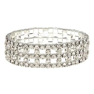 Roman Silvertone Pave Crystal Stretch Bracelet