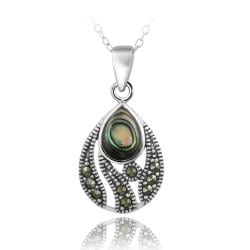 Glitzy Rocks Sterling Silver Marcasite Abalone Teardrop Necklace