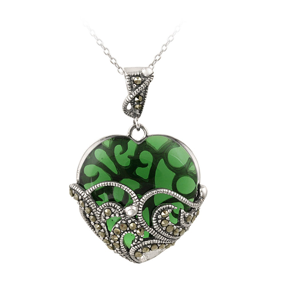 Glitzy Rocks Sterling Silver Marcasite and Green Glass Heart Necklace