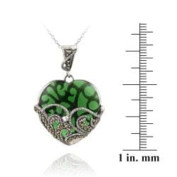 Glitzy Rocks Sterling Silver Marcasite and Green Glass Heart Necklace - Thumbnail 2
