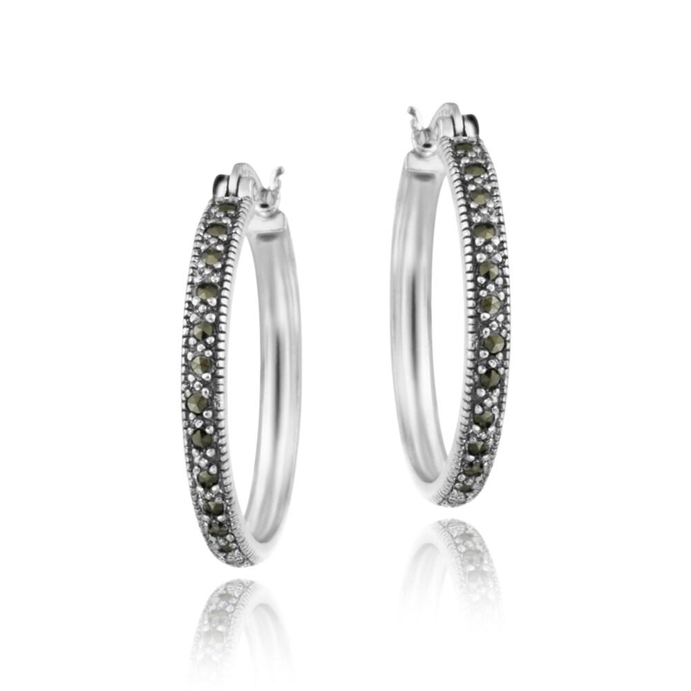 Glitzy Rocks Sterling Silver Marcasite 30-mm Hoop Earrings
