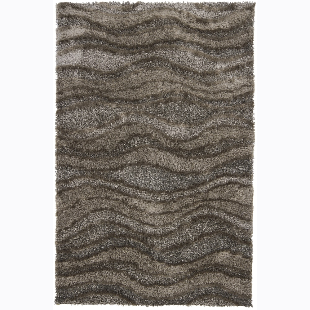 Artist's Loom Hand-woven Shag Rug - 5' x 7'6