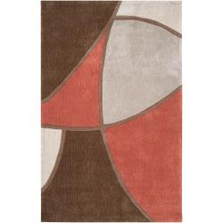 Hand-tufted Contemporary Robin Brown/Red Floral Abstract Rug (2' x 3')