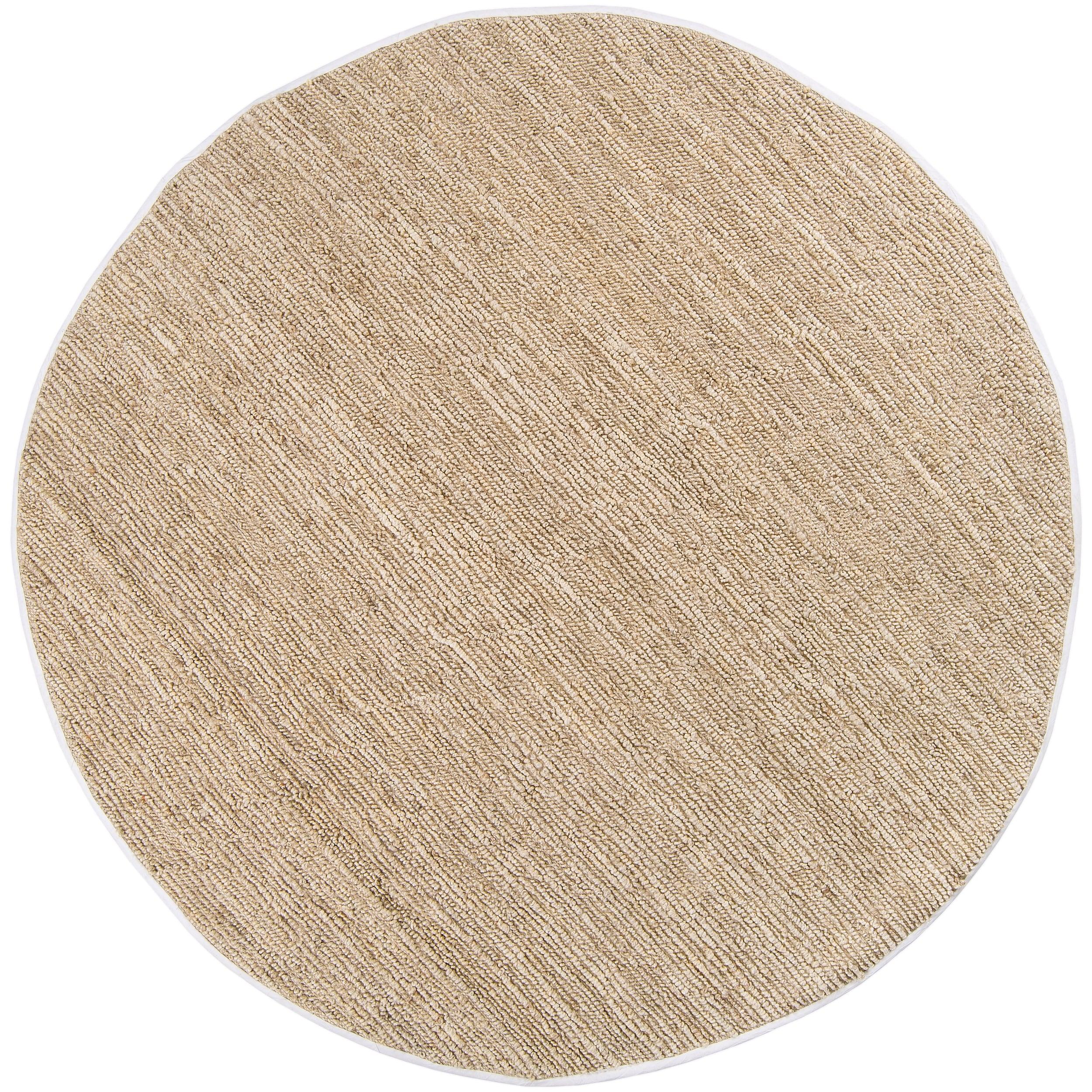 Hand Woven White Thrasher Natural Fiber Jute Rug 8 Round