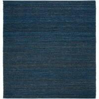 Hand-woven Blue Meadowlark Natural Fiber Jute Area Rug (8' Square)