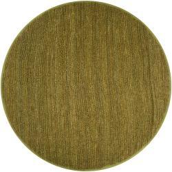 Hand-woven Green Chickadee Natural Fiber Jute Area Rug (8' Round)