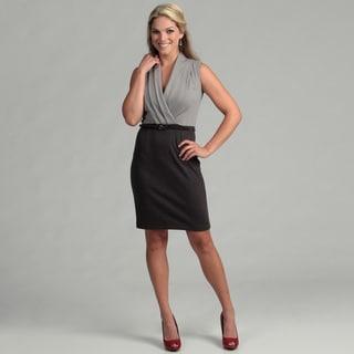 Calvin Klein Women's Tin/ Charcoal Pleated Dress