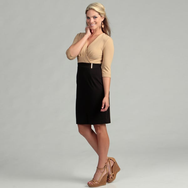 Calvin Klein Women's Camel/ Black Empire Dress