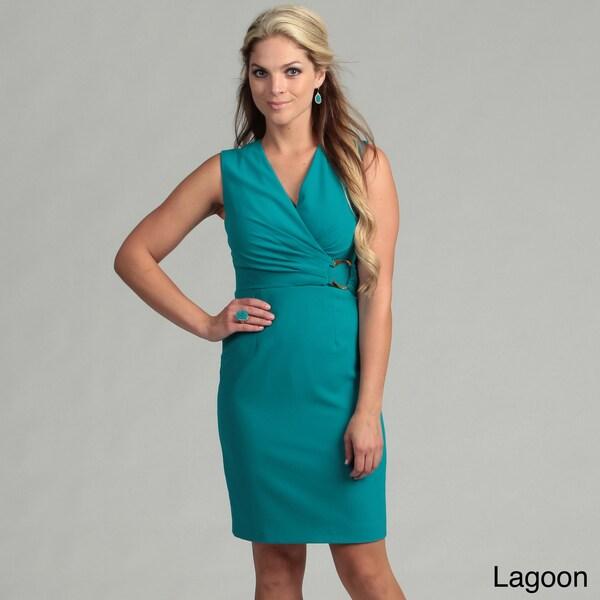 Calvin Klein Women's Goldtone Buckle Ruched Dress