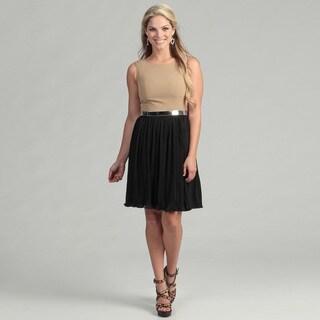 Calvin Klein Women's Camel/ Black Belted Dress