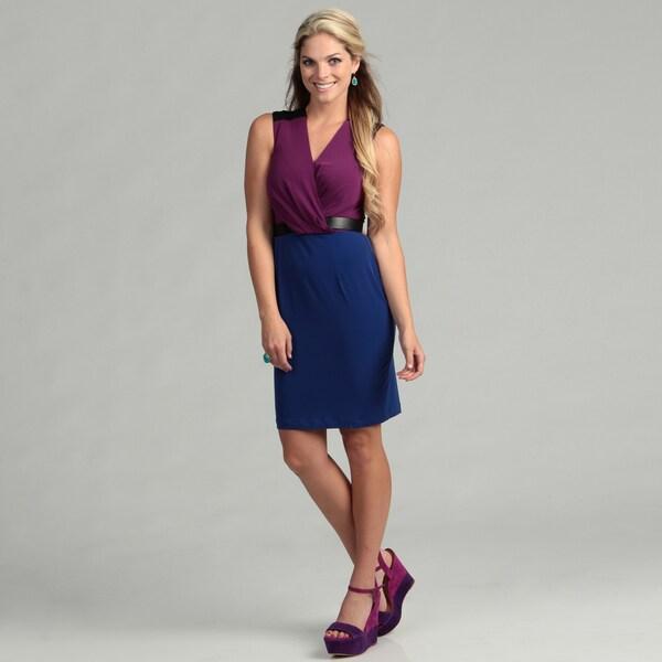 Calvin Klein Women's Colorblock Draped Dress