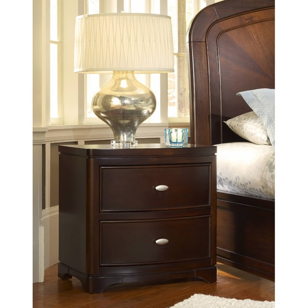 2-drawer Bow Front Nightstand with Power Strip