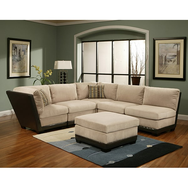 Furniture of America Clifton Micro-denier Corduroy Fabric Modular Sectional with Ottoman