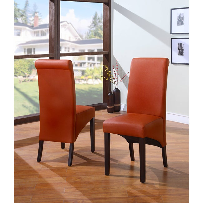 Sleigh Back Orange Parsons Dining Chair Set Of 2 Free