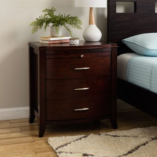 2-drawer Bow Front Nightstand with Tray and Power Strip - Cinnamon