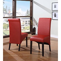 Sleigh Back Red Parsons Chair (Set of 2)