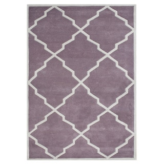 Alliyah Handmade Lilac New Zealand Blend Wool Rug (8x10)