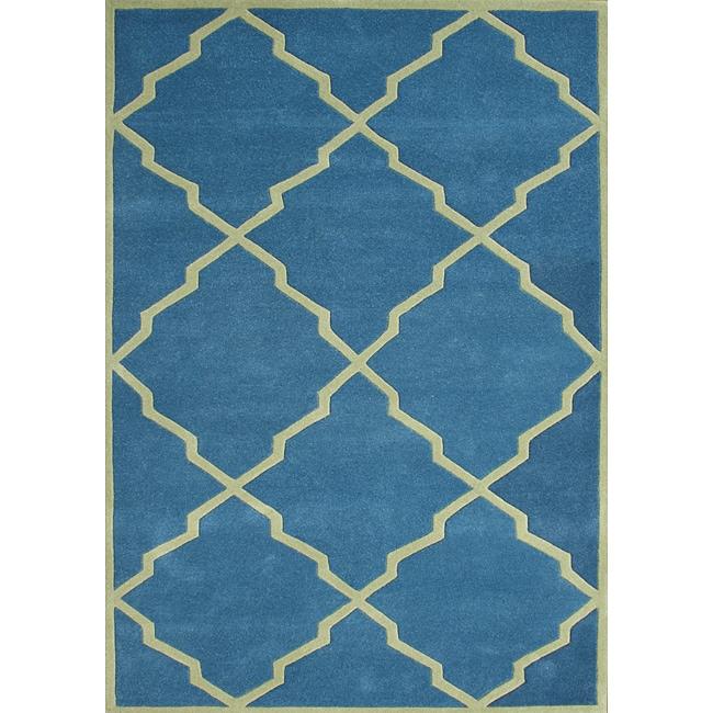 Alliyah Handmade Aqua New Zealand Blend Wool Rug (8x10)