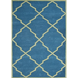 Alliyah Handmade Aqua New Zealand Blend Wool Rug - 8' x 10' - Thumbnail 0