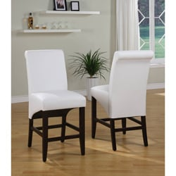 Sleigh Back White Counter Stool (Set of 2)