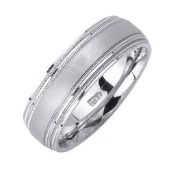 14k White Gold Men's 4-row Miligrain Wedding Band - Thumbnail 1
