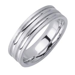 14k White Gold Men's Double Groove Wedding Band