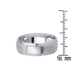 14k White Gold Men's Milligrain Wedding Band
