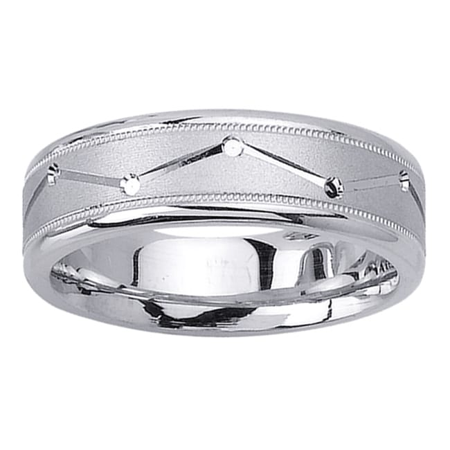 14k White Gold Men's Zig-zag Groove Wedding Band - Thumbnail 0