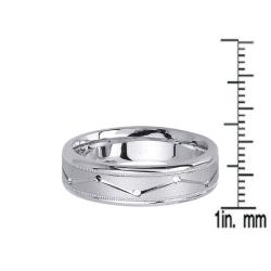 14k White Gold Men's Zig-zag Groove Wedding Band - Thumbnail 2