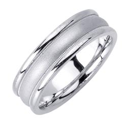 14k White Gold Men's Brushed Center Milligrain Wedding Band