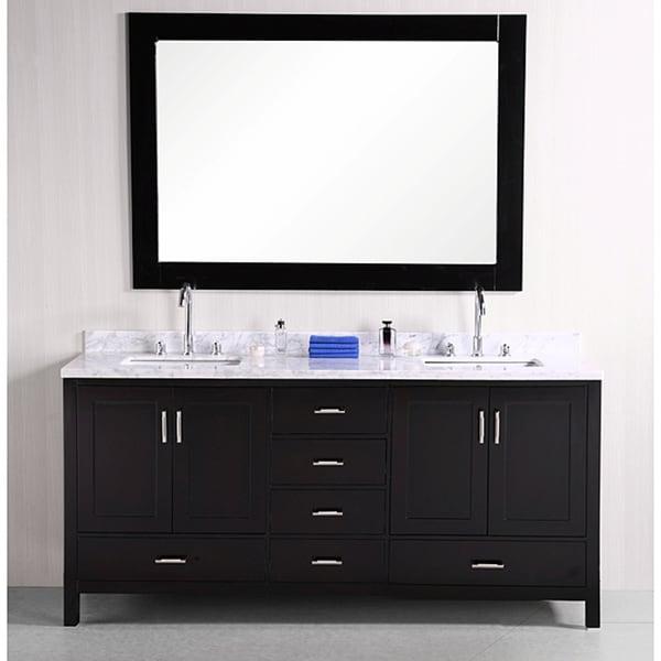 Design element espresso solid wood transitional double for Design element marcos solid wood double sink bathroom vanity