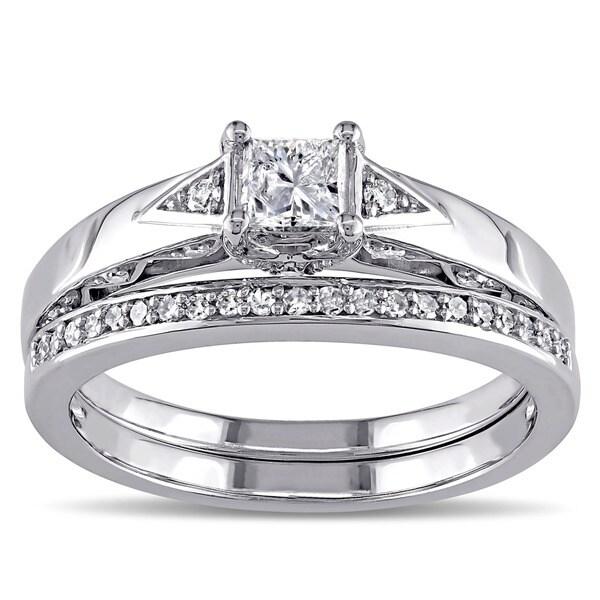 Miadora 10k White Gold 5/8ct TDW Certified Diamond Bridal Ring Set (G-H, I2-I3) (IGL)