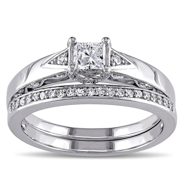 Miadora 10k White Gold 5/8ct TDW Certified Diamond Bridal Ring Set (IGL)
