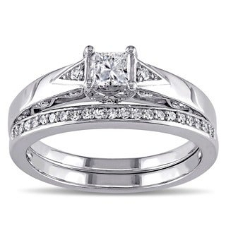 Miadora 10k White Gold 5/8ct TDW Certified Diamond Bridal Ring Set (G-H, I2-I3) (IGL)