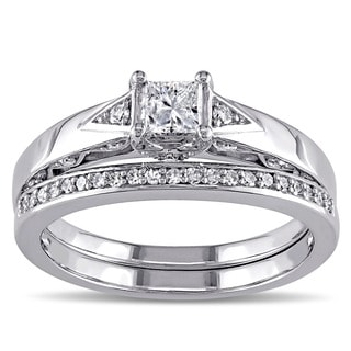 Miadora 10k White Gold 5/8ct TDW Diamond Bridal Ring Set